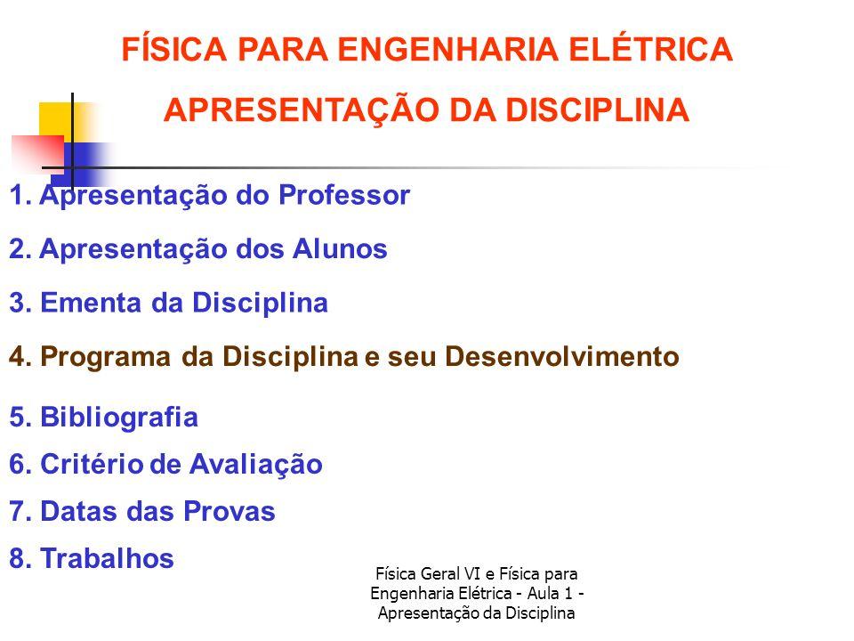 FÍSICA PARA ENGENHARIA ELÉTRICA APRESENTAÇÃO DA DISCIPLINA