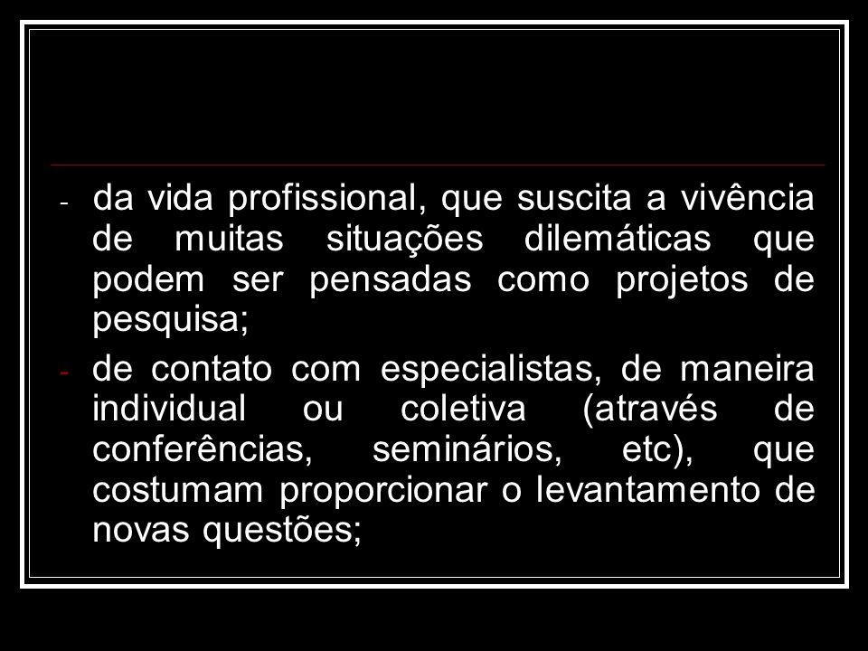 - da vida profissional, que suscita a vivência de muitas situações dilemáticas que podem ser pensadas como projetos de pesquisa;