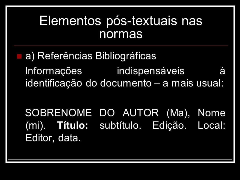Elementos pós-textuais nas normas