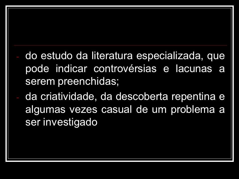 do estudo da literatura especializada, que pode indicar controvérsias e lacunas a serem preenchidas;