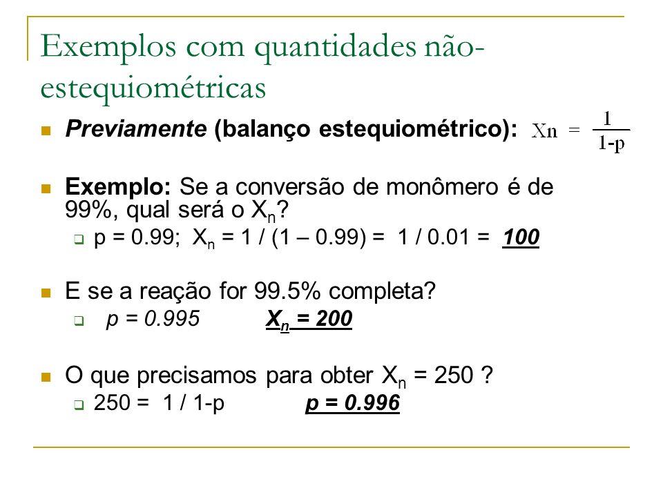 Exemplos com quantidades não-estequiométricas