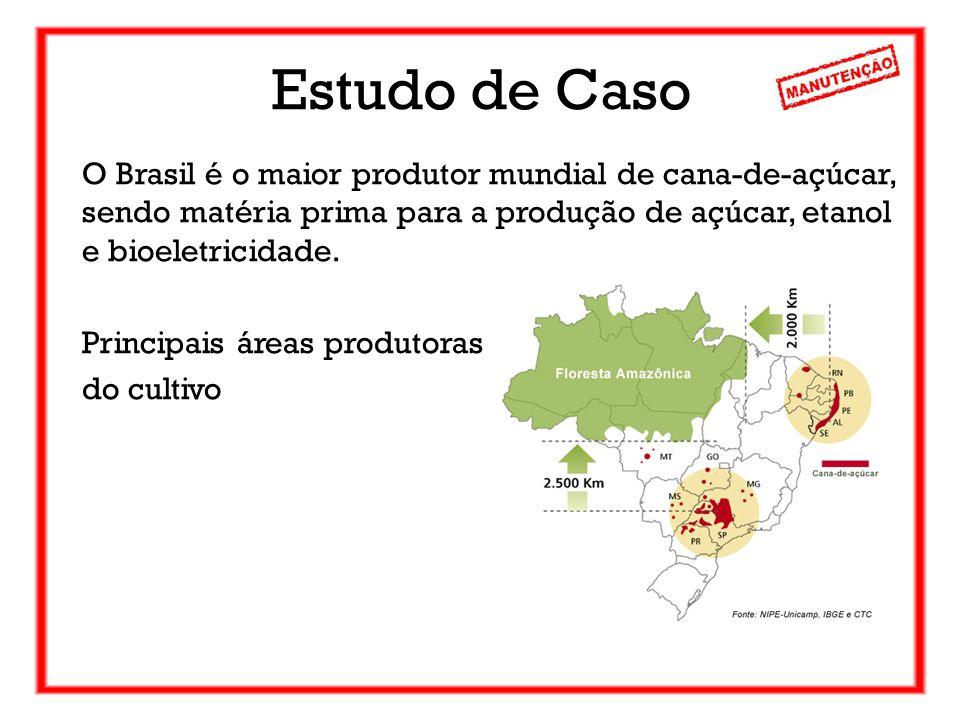 Estudo de Caso O Brasil é o maior produtor mundial de cana-de-açúcar, sendo matéria prima para a produção de açúcar, etanol e bioeletricidade.