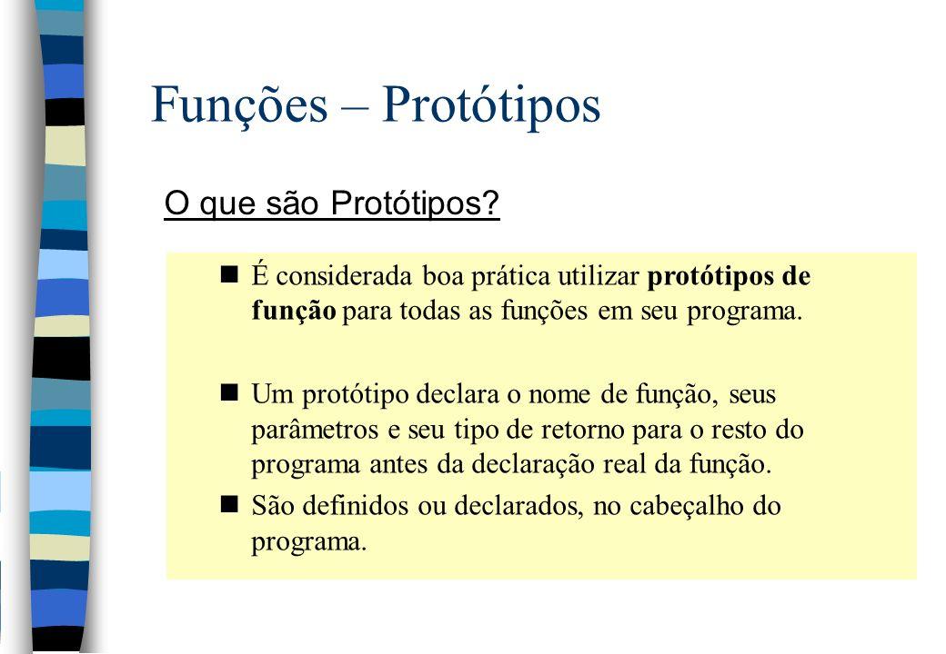 Funções – Protótipos O que são Protótipos