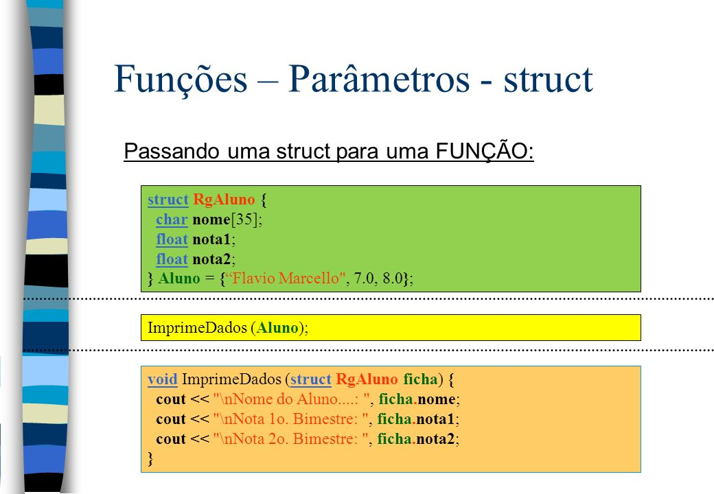 Funções – Parâmetros - struct