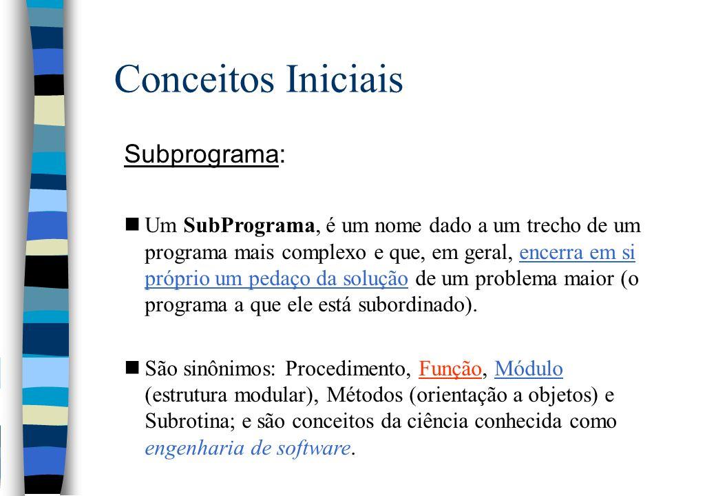Conceitos Iniciais Subprograma: