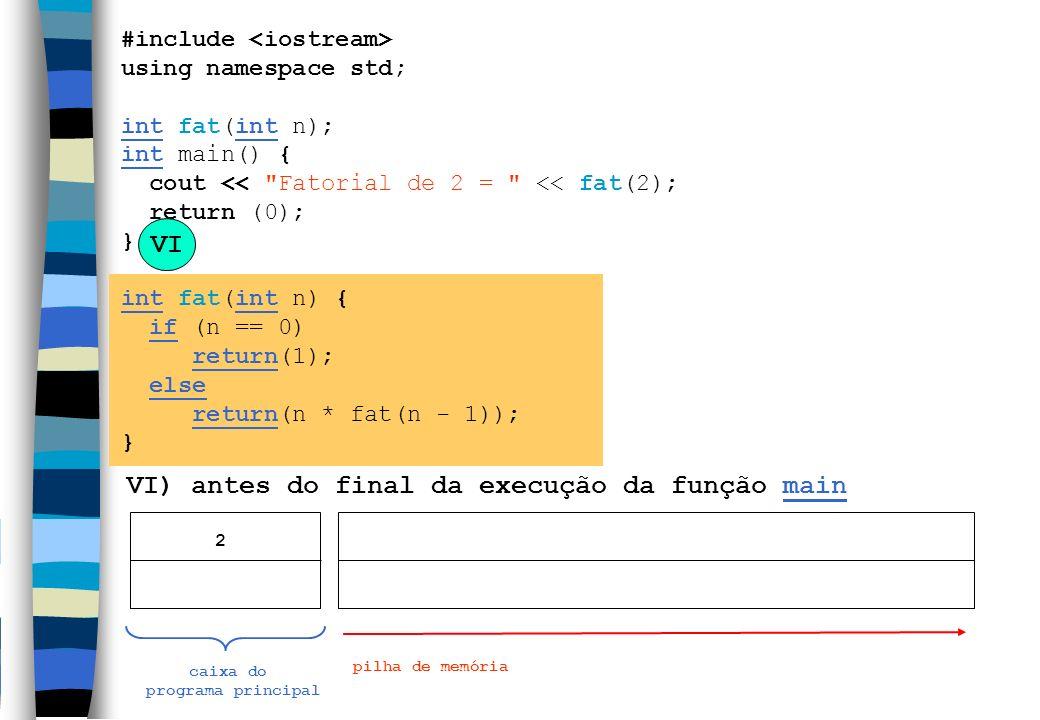 VI) antes do final da execução da função main