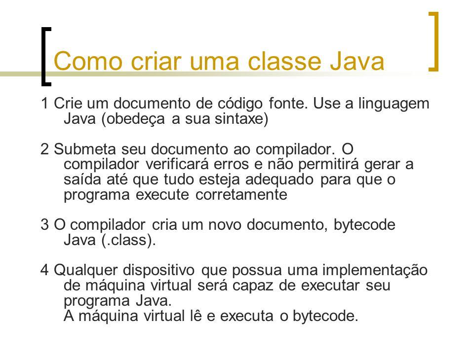 Como criar uma classe Java
