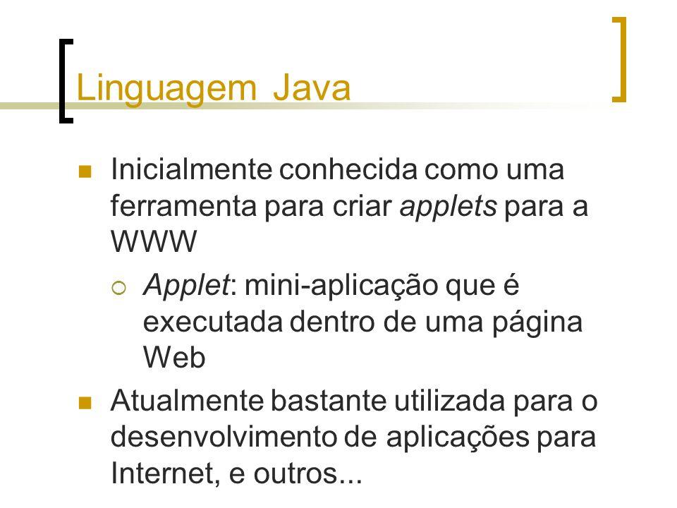 Linguagem Java Inicialmente conhecida como uma ferramenta para criar applets para a WWW.