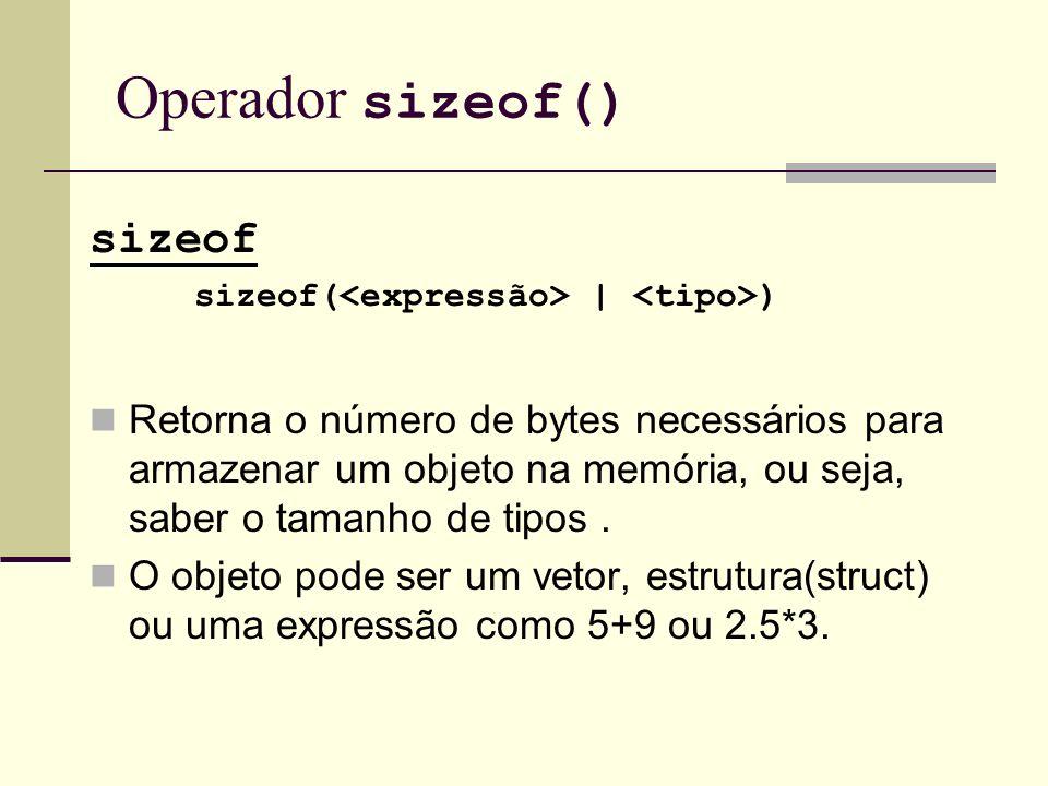 Operador sizeof() sizeof
