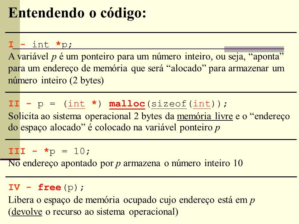 Entendendo o código: I - int *p;