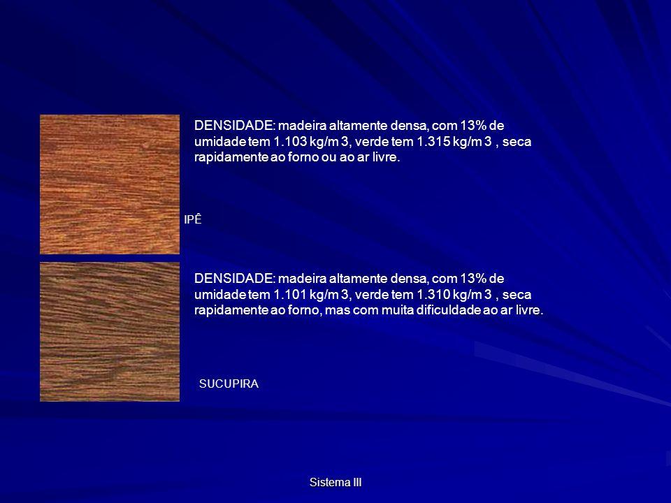 DENSIDADE: madeira altamente densa, com 13% de umidade tem 1