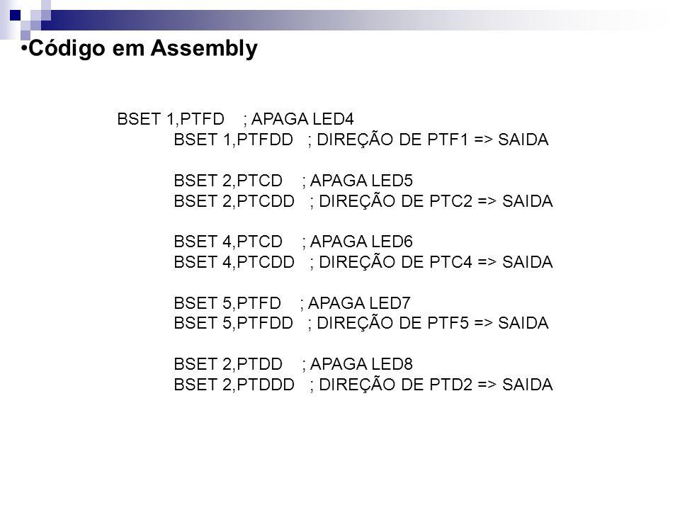 Código em Assembly BSET 1,PTFD ; APAGA LED4
