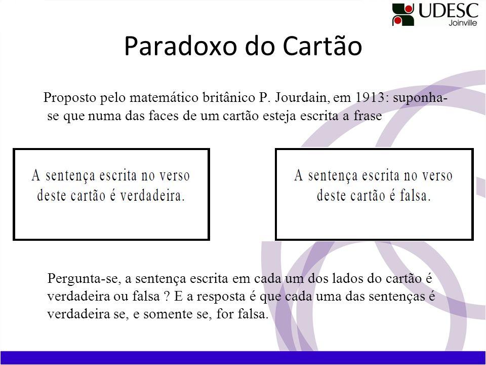 Paradoxo do Cartão Proposto pelo matemático britânico P. Jourdain, em 1913: suponha- se que numa das faces de um cartão esteja escrita a frase.