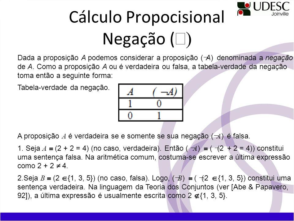 Cálculo Propocisional Negação (Ø)