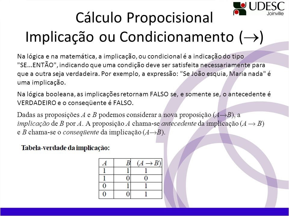 Cálculo Propocisional Implicação ou Condicionamento (®)