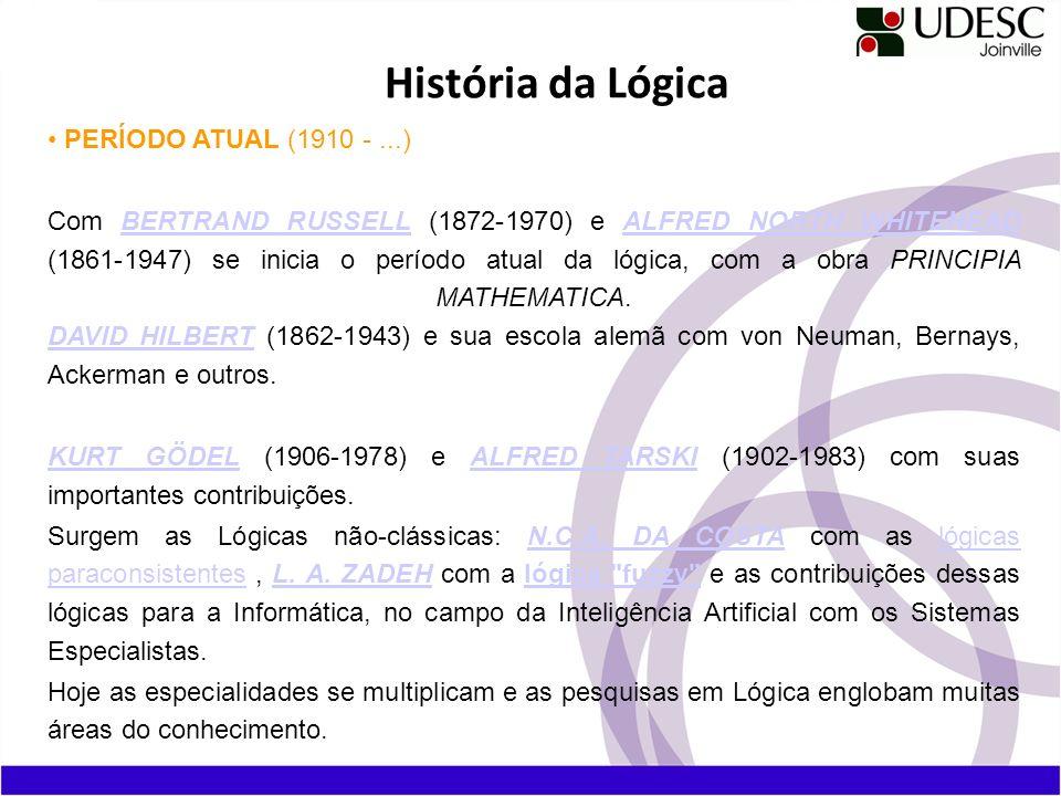 História da Lógica PERÍODO ATUAL (1910 - ...)