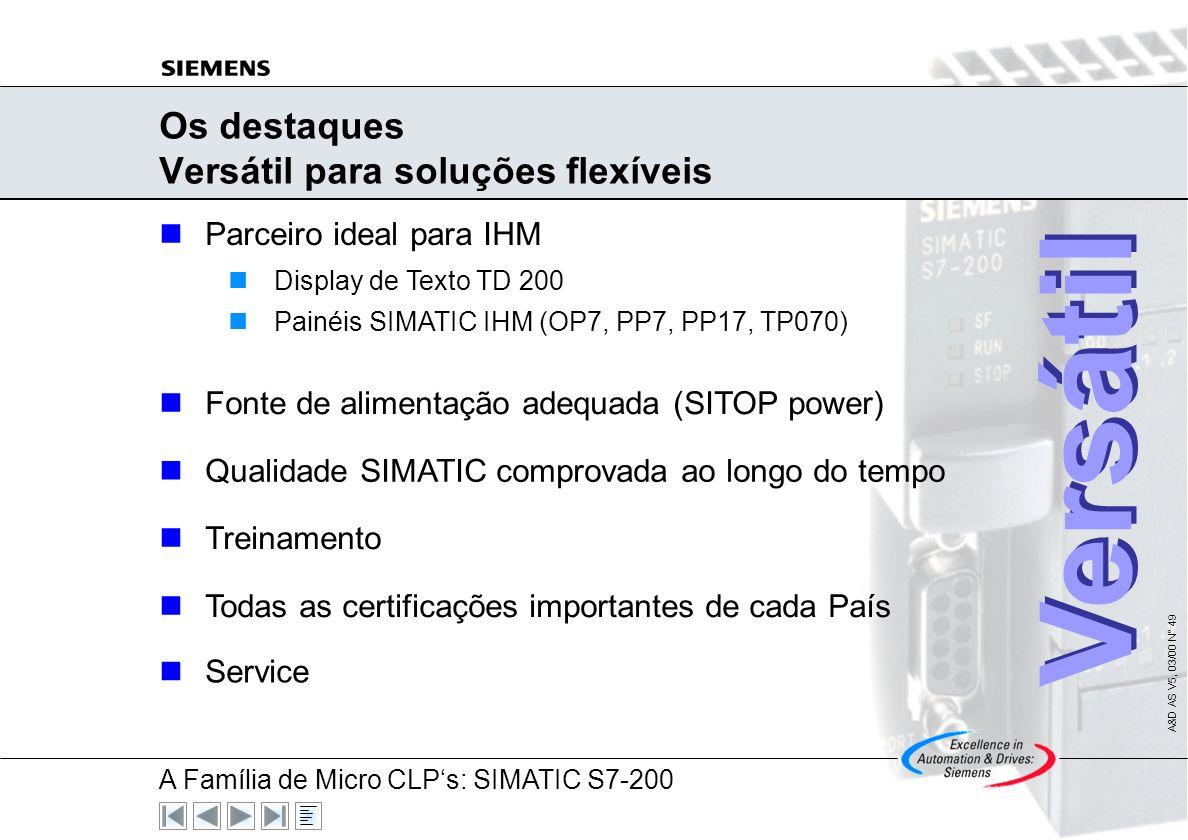 Os destaques Versátil para soluções flexíveis