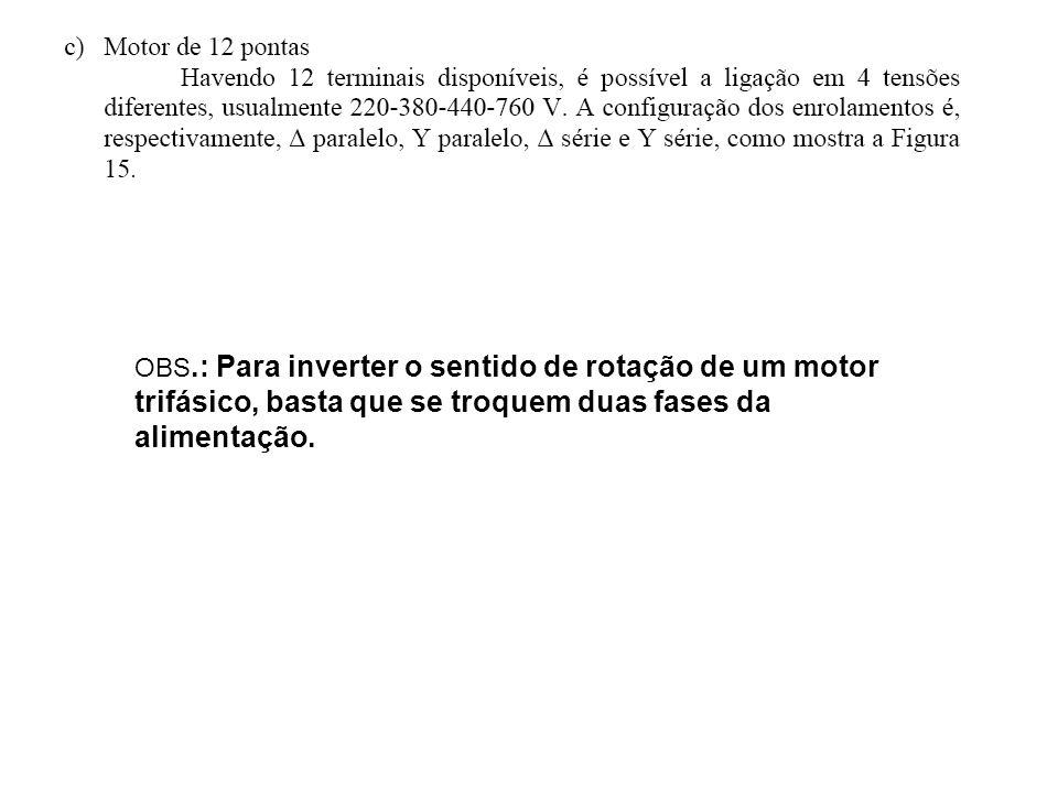 OBS.: Para inverter o sentido de rotação de um motor trifásico, basta que se troquem duas fases da alimentação.