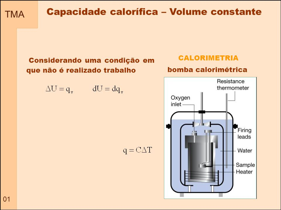 Capacidade calorífica – Volume constante
