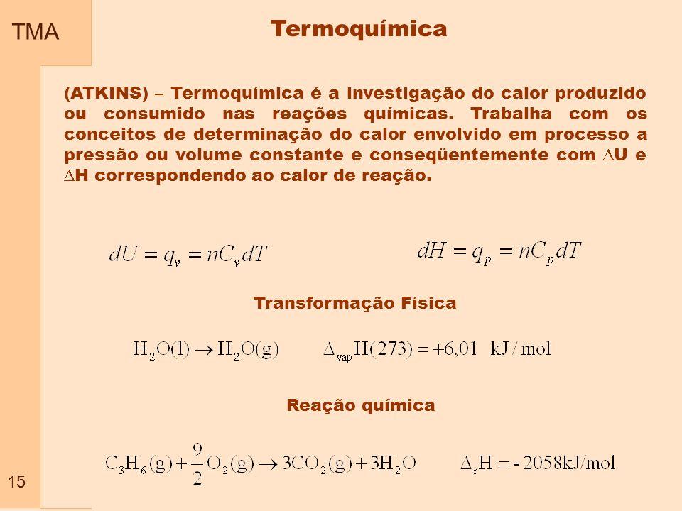 TMA 15. Termoquímica.