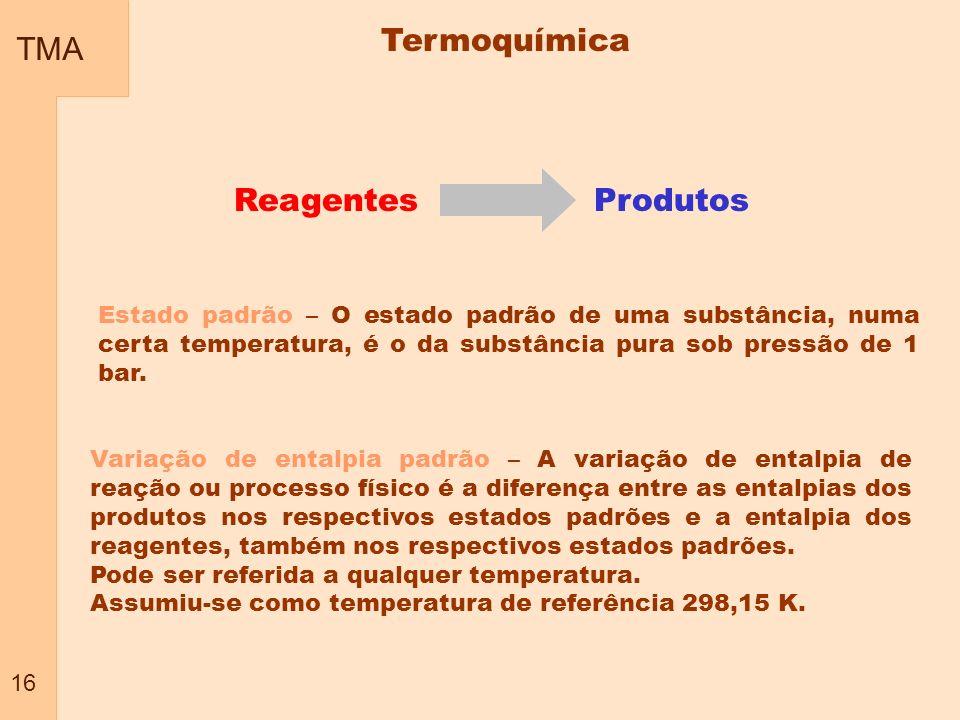 TMA Termoquímica Reagentes Produtos