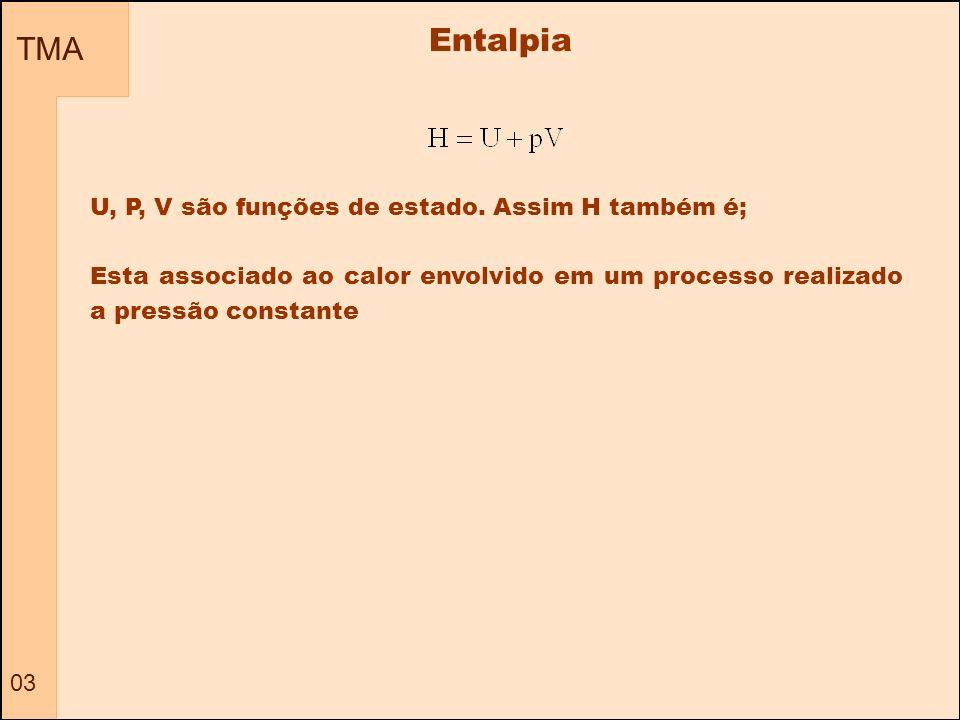 Entalpia TMA U, P, V são funções de estado. Assim H também é;