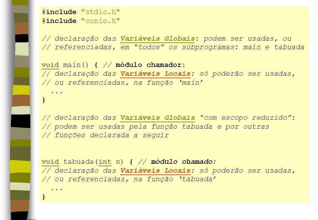 #include stdio.h #include conio.h // declaração das Variáveis Globais: podem ser usadas, ou.