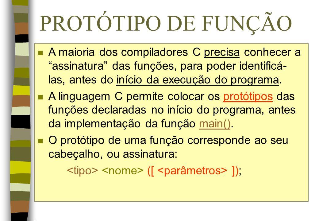 PROTÓTIPO DE FUNÇÃO
