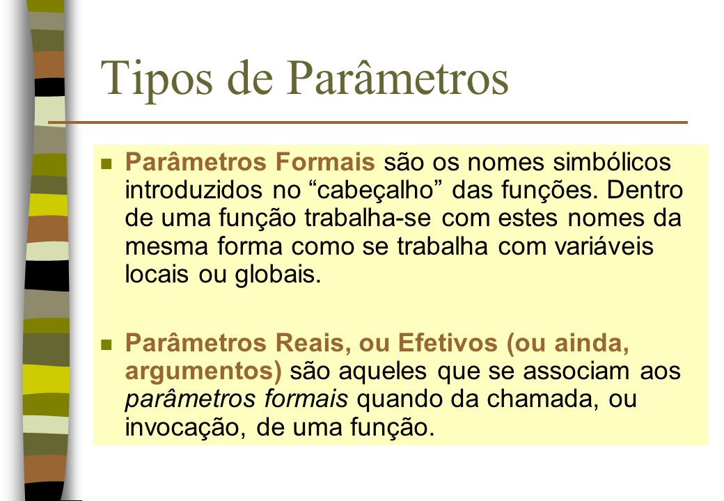 Tipos de Parâmetros