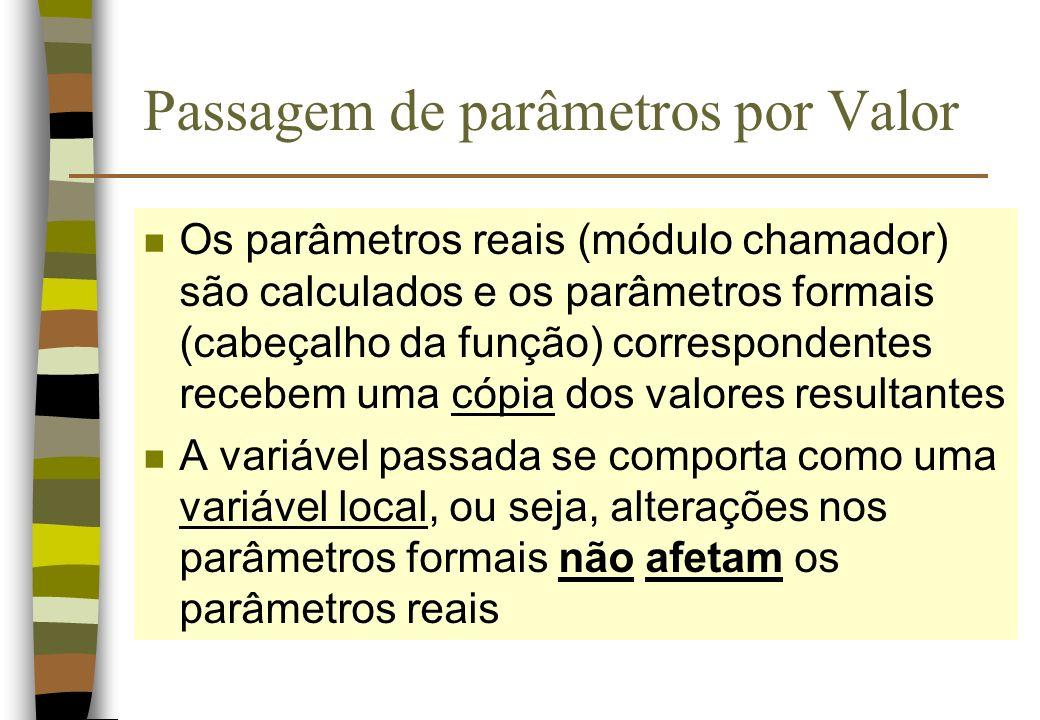 Passagem de parâmetros por Valor