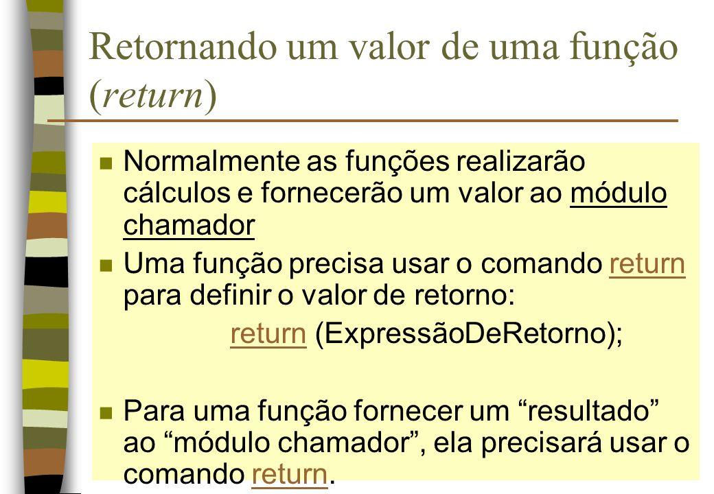 Retornando um valor de uma função (return)