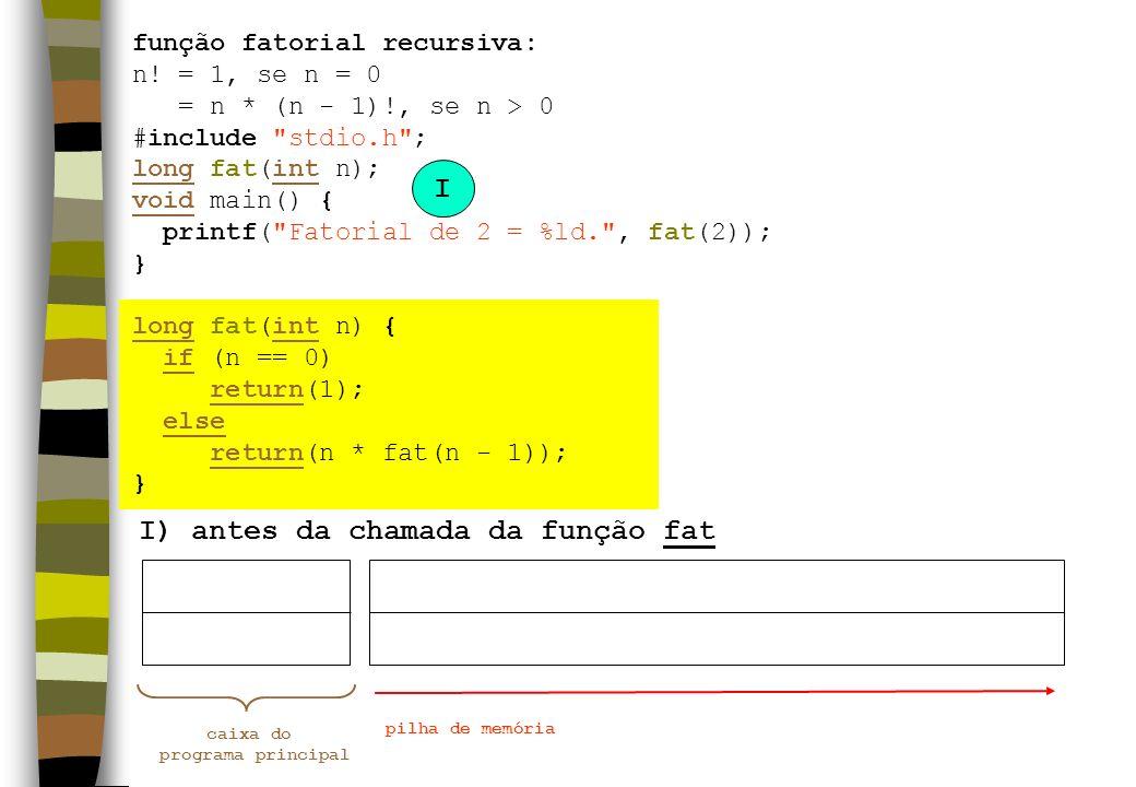 I) antes da chamada da função fat