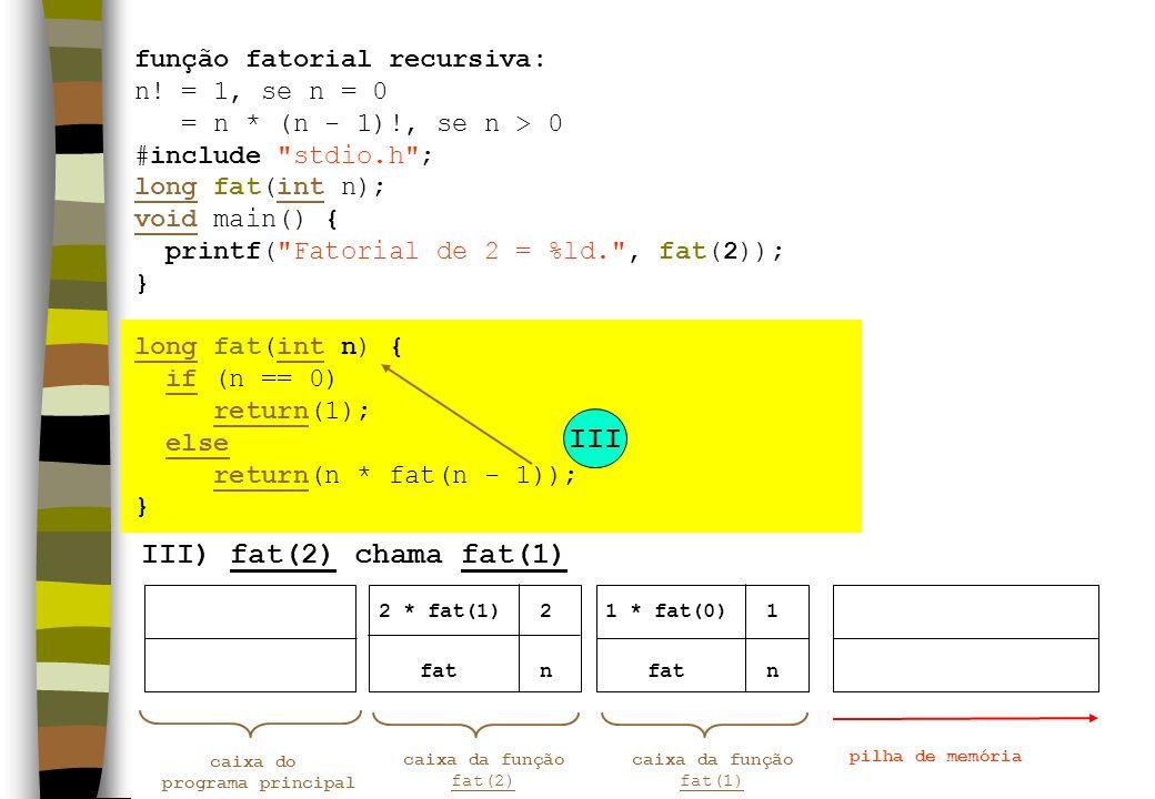III III) fat(2) chama fat(1) função fatorial recursiva: