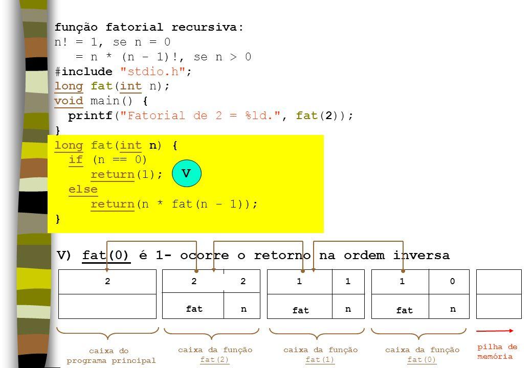 V) fat(0) é 1- ocorre o retorno na ordem inversa