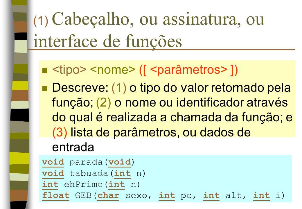 (1) Cabeçalho, ou assinatura, ou interface de funções