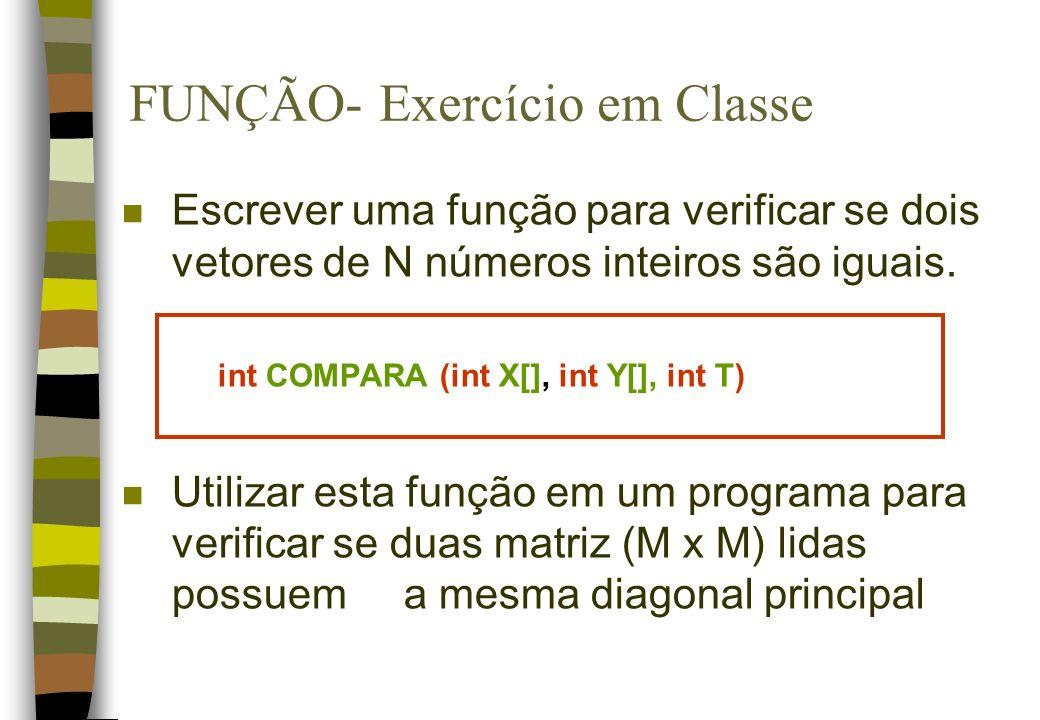 FUNÇÃO- Exercício em Classe
