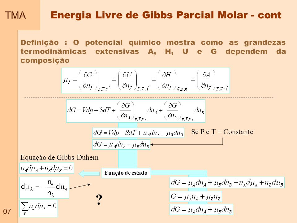 Energia Livre de Gibbs Parcial Molar - cont