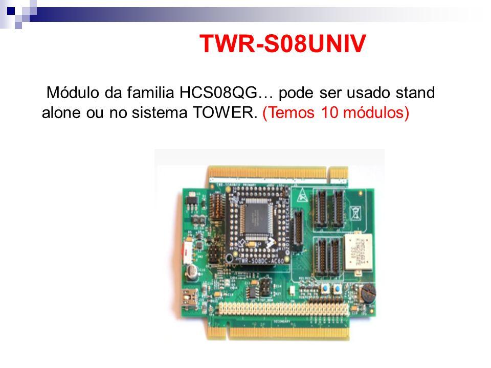 TWR-S08UNIV Módulo da familia HCS08QG… pode ser usado stand alone ou no sistema TOWER.