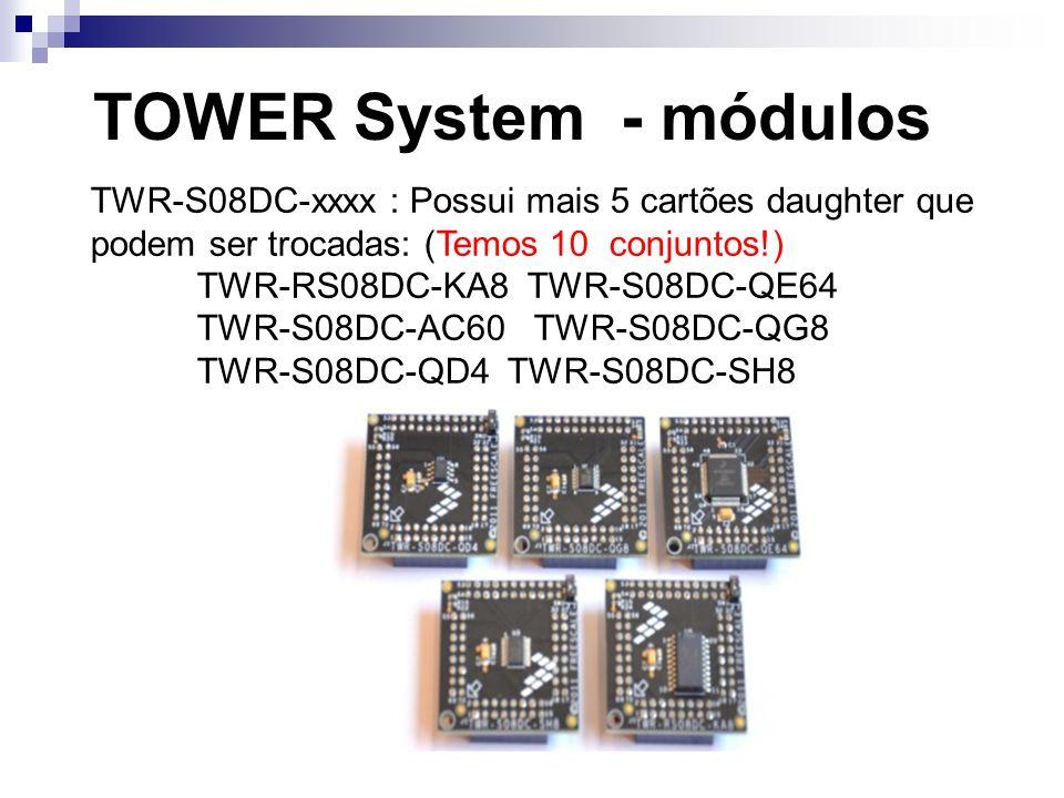 TOWER System - módulos TWR-S08DC-xxxx : Possui mais 5 cartões daughter que podem ser trocadas: (Temos 10 conjuntos!)
