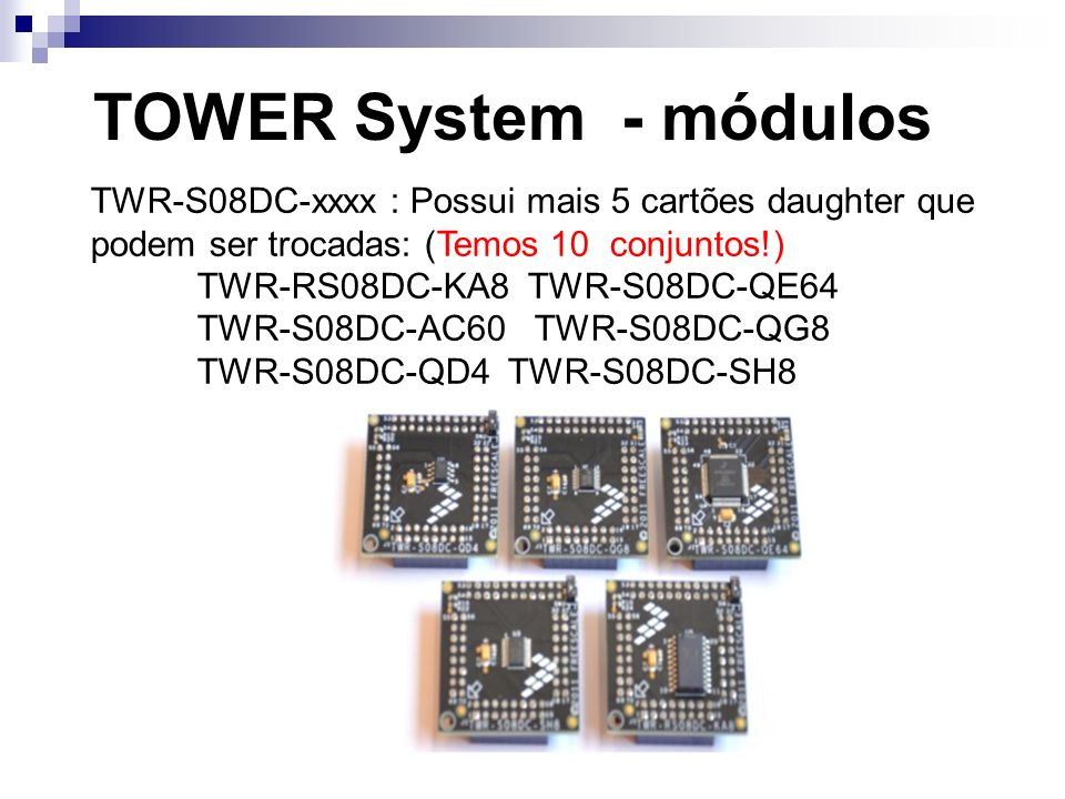 TOWER System - módulosTWR-S08DC-xxxx : Possui mais 5 cartões daughter que podem ser trocadas: (Temos 10 conjuntos!)
