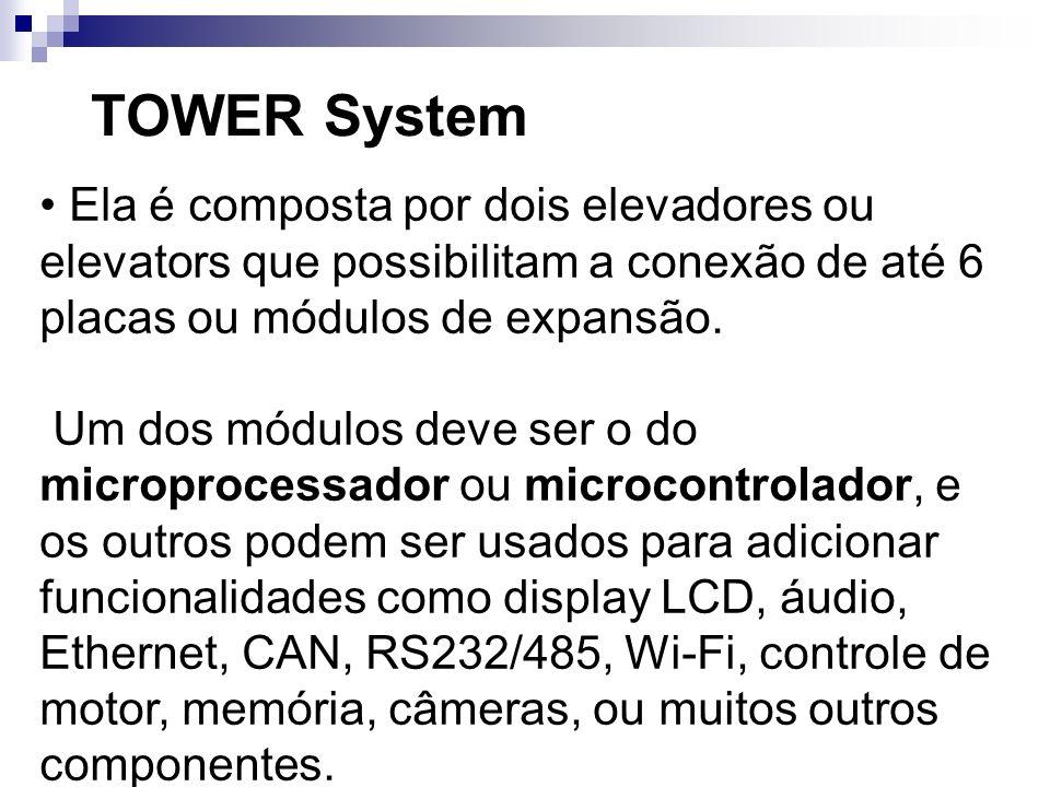 TOWER SystemEla é composta por dois elevadores ou elevators que possibilitam a conexão de até 6 placas ou módulos de expansão.