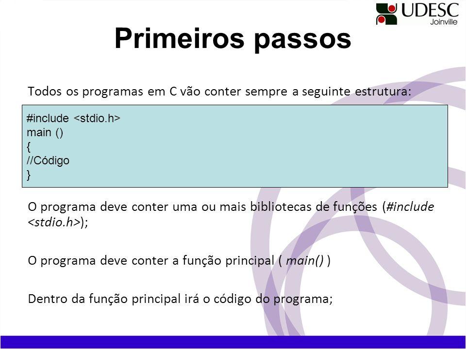 Primeiros passos Todos os programas em C vão conter sempre a seguinte estrutura: