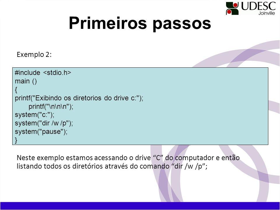 Primeiros passos Exemplo 2: