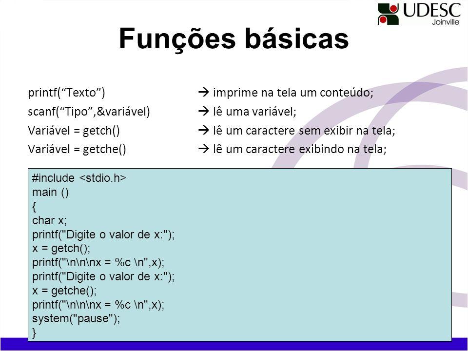 Funções básicas printf( Texto )  imprime na tela um conteúdo;