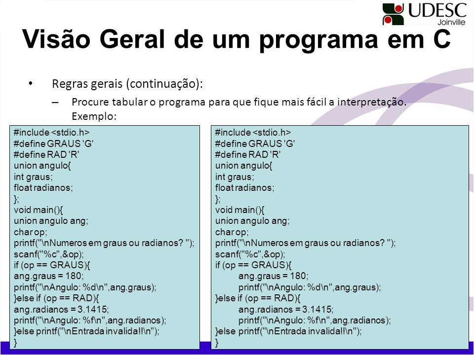 Visão Geral de um programa em C