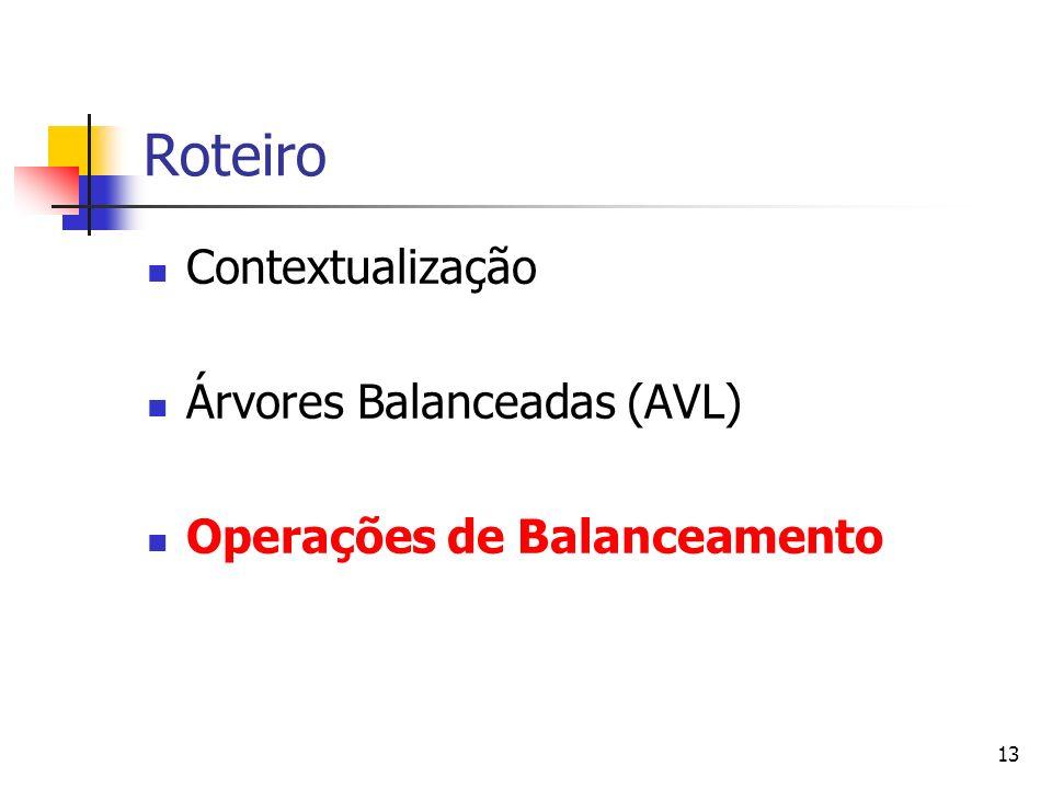 Roteiro Contextualização Árvores Balanceadas (AVL)