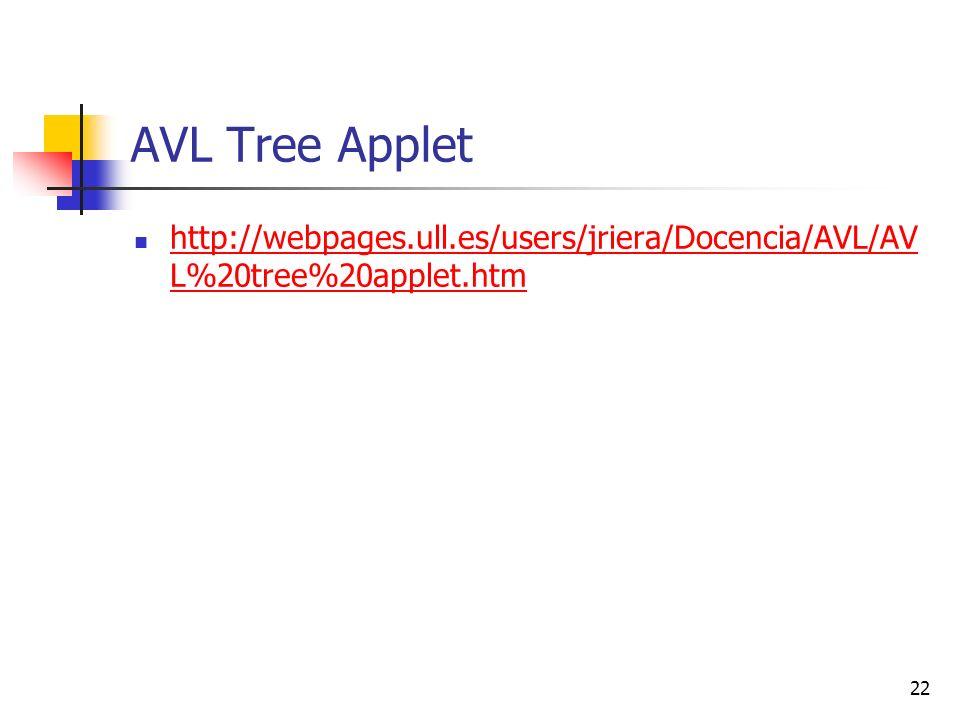 AVL Tree Applet http://webpages.ull.es/users/jriera/Docencia/AVL/AVL%20tree%20applet.htm