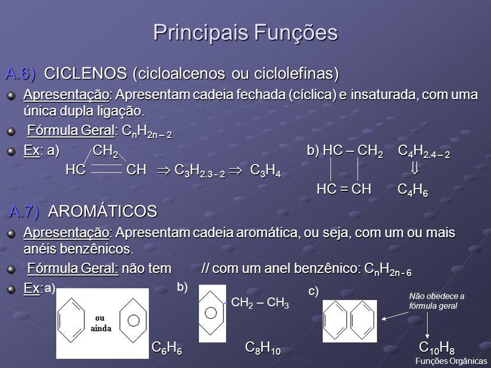 Principais Funções A.6) CICLENOS (cicloalcenos ou ciclolefinas)