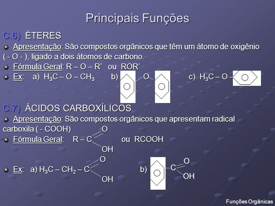 Principais Funções C.6) ÉTERES C.7) ÁCIDOS CARBOXÍLICOS