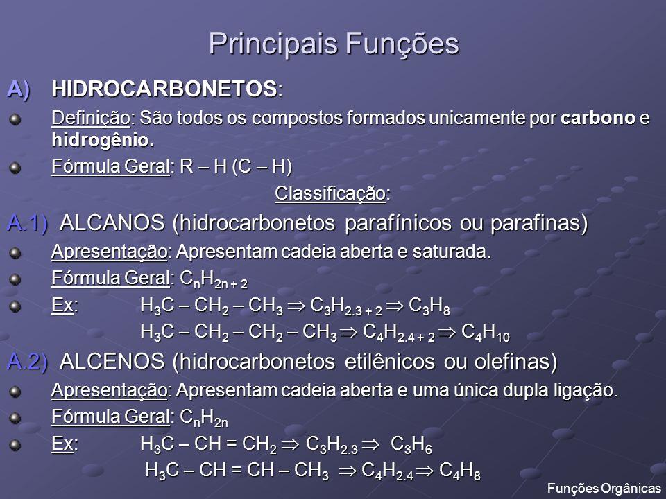 Principais Funções HIDROCARBONETOS: